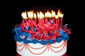 Masses of candles (25) on a cake ~ suitable for birthday, anniversary, or any other celebration.