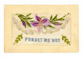 Vintage hand-embroidered greeting card, dating from the 1920's.  The flap lifts to hold a small message inside the