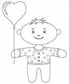 Boy with heart balloon, contour