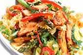 Farfelle ribbon bow pasta with smoked chicken and vegetables.  A delicious, healthy salad.