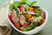 stock photo of endive  - Chicken salad with roasted vegetables and mixed greens - JPG