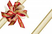 image of brocade  - Red and gold Christmas ribbon bow and brocade ribbon - JPG