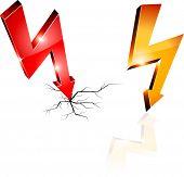 Elektriciteit Waarschuwing symbolen. Vectorillustratie.