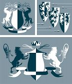 stock photo of armorial-bearings  - Three illustration with  heraldic vector elements for design - JPG