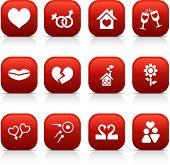 Love  button set. Vector illustration.