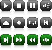 Grupo de botones de jugador. Ilustración del vector.