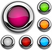 Collection of shiny buttons. Vector illustration.