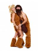 stock photo of cave woman  - Cute Cave Man With Club And Cave Woman - JPG
