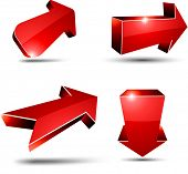 3D red arrows. Vector illustration.