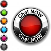 Chat now realistic button. Vector.