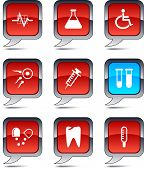 Medical set of square balloon icons.