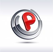 Vector illustration of 3D p symbol.