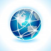 Blue high-detailed communication earth. Vector.