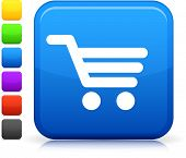 image of cart  - Shopping Cart icon on square internet button  Six color options included - JPG