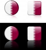 Qatar Flag Buttons on White and Black Background Original Vector Illustration AI8 Compatible