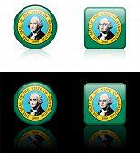Washington Flag Icon on Internet Button Original Vector Illustration AI8 Compatible