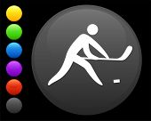 hockey icon on round internet button original vector illustration 6 color versions included