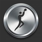 Basketball Icon on Metal Internet Button Original Vector Illustration