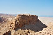 picture of masada  - Scenic view of Masada stronghold - JPG