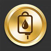 IV Blood Drip on Golden Internet Button Original Illustration