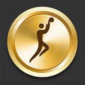Basketball on Golden Internet Button Original Illustration