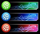 Globussymbol auf Tcl/Tk-farbigen Button Set Original Illustration