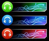 Kopfhörer Symbol auf Tcl/Tk-farbigen Schaltfläche Set Original Illustration