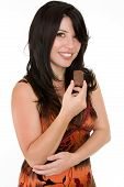 Woman With Chocolate Snack