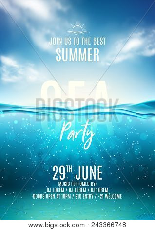 poster of Summer Sea Party Poster Template. Vector Illustration With Deep Underwater Ocean Scene. Background W