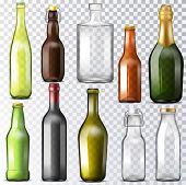 Bottle Glass Vector Glassware Of Water-bottle And Cupping-glass Or Glass-jar For Drinks Or Beverages poster