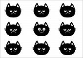 Cute Black Cat Set. Emotion Collection. Happy, Smiling And Sad, Angry Kitten Head Face. Optimist Pes poster