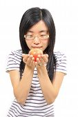 Young Chinese Woman Holding An Apple