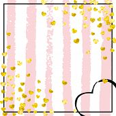 Gold Glitter Confetti With Hearts On Pink Stripes. Shiny Falling Sequins With Shimmer And Sparkles.  poster