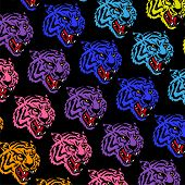 Graphic Design Pattern Print With Many Angry Neon Heads Wild Tiger Which Are Colorful Like Rainbow M poster