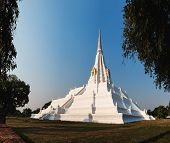 Chedi Phukhao Thong Is A Large Renovated Chedi In The Mon Style, Next To The Buddhist Temple Of Wat  poster
