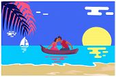 Summer Love Affair Banner With Kissing Couple Sailing Together In One Boat, Relationships Of Strange poster
