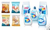 Laundry Detergent Package Design, Set Of Container Bottles With Label And Polypropylene Plastic Pack poster
