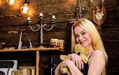 Lady Blonde Enjoy Leisure With Teddy Bear. Woman On Smiling Face Relaxing In Wooden Interior. Rest A poster