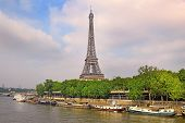 View Of The Eiffel Tower From The River Seine In Paris, Eiffel Tower Most Visited Monument In France poster