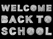 Handwritten White Bold Chalk Lettering Welcome Back To School Text On Black Background, Hand-drawn C poster