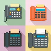 Fax Machine Telephone Icons Set. Flat Illustration Of 4 Fax Machine Telephone Vector Icons For Web poster