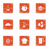 Refreshment Icons Set. Grunge Set Of 9 Refreshment Vector Icons For Web Isolated On White Background poster
