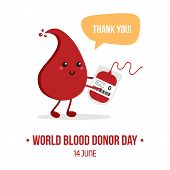 Vector Illustration For World Blood Donor Day With Cute Cartoon Blood Drop Character With Blood Bag, poster