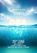 Summer Sea Party Poster Template. Vector Illustration With Deep Underwater Ocean Scene. Background W poster