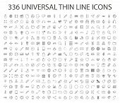 336 Universal Thin Line Icon Vector. Outline Web, Business, Finance, Arrow, Sport, Food, Technology, poster