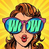 Woman With Sunglasses. Wow In Reflection. Comic Cartoon Pop Art Retro Illustration Vector Kitsch Dra poster