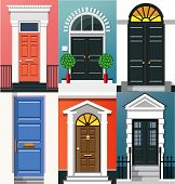 Entrance Doors. A Set Of Entrance Doors. A Set Of Entrance Doors In A Flat Style. Set Of Colorful Fr poster
