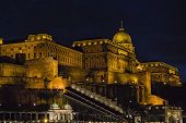 View Over Buda Side Of Budapest With Illuminated Buda Castle And Danube River From Viewpoint On A To poster