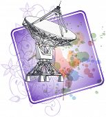 Satellite dishes antena - doppler radar & color paint background. Bitmap copy my vector ID 71112232