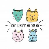 Home Is Where My Cats Are Quote. Modern T-shirt Print Design. Handwritten Phrase. Inspiration Graphi poster